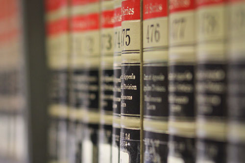 side angle view of a row of federal reporter books